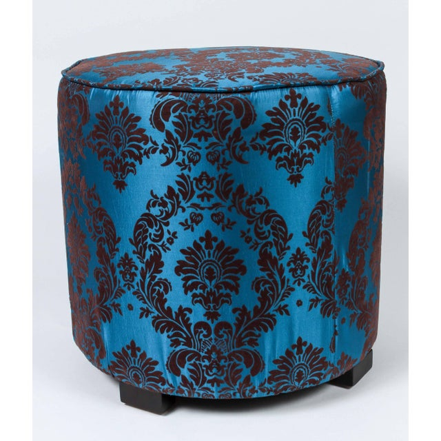 Fabric Pair of Blue and Brown Upholstered Stools For Sale - Image 7 of 8