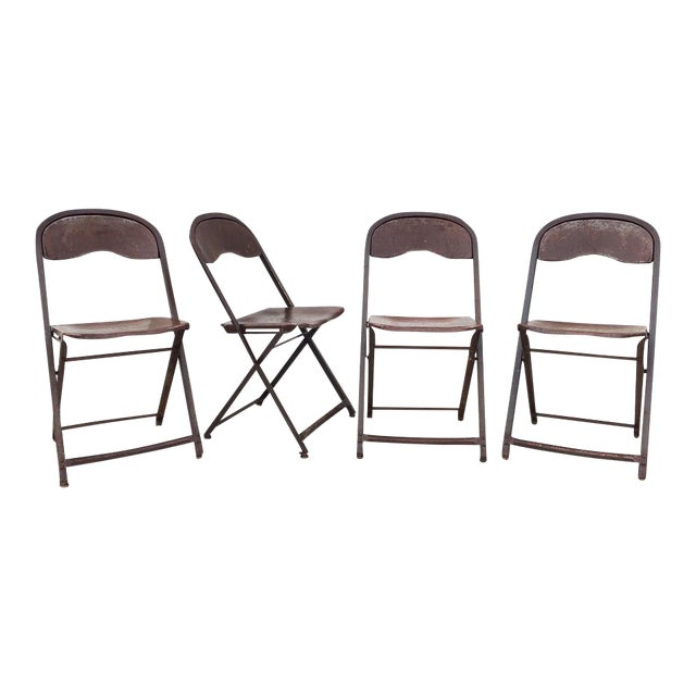 1950's Metal Folding Chairs - Set of 4 - Image 1 of 5