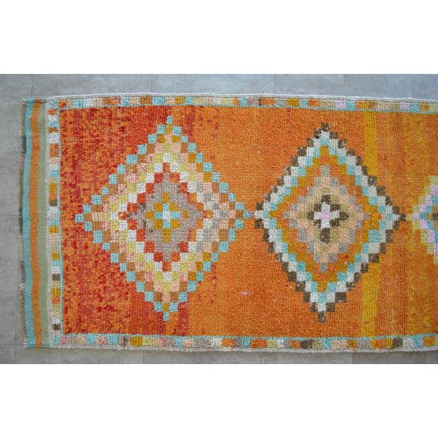 Textile Hand-Knotted Turkish Runner Rug. Low Pile Herki Short Runner 3′3″ × 10′ For Sale - Image 7 of 11