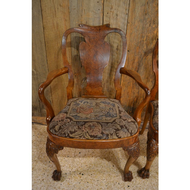 Set of 10 Antique English Queen Anne Burl Walnut Dining Chairs circa 1880. The arm chairs measure 40 inches high, 24.50...