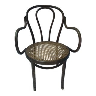 Vintage Bentwood & Cane Arm Chair For Sale