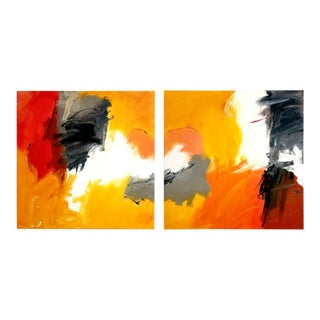 "Cheryl Troxel Original Painting ""Conflagration Diptych"" For Sale"