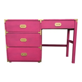 Campaign Style Hot Pink and Brass Single Pedestal Desk For Sale