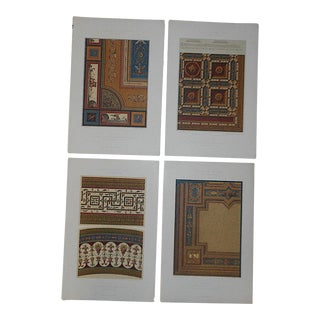 """Farbig Dekoration"" Ornamental Design Elements-Antique Lithographs-Set of 4-19""x13"" For Sale"