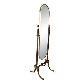 Italian Hollywood Regency Brass Floor Mirror . For Sale