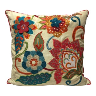 """Silk & Crewel 22"""" Pillow - Down/Feather Insert For Sale"""