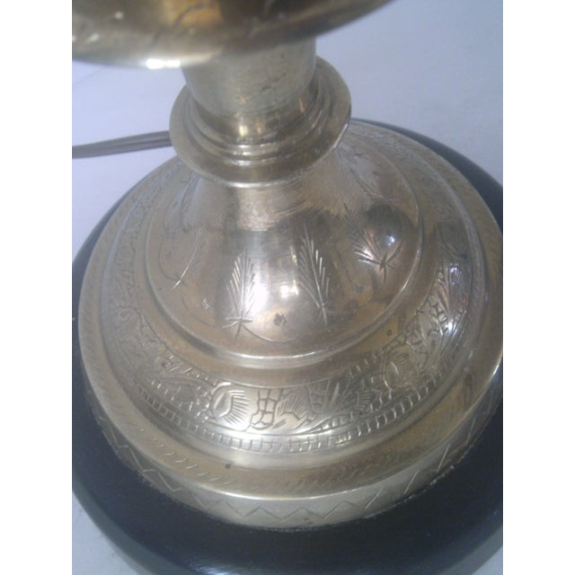 Silver Vintage Brass Jardiniere Lamp For Sale - Image 8 of 8