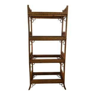 Vintage Brighton Pavilion Style Burnt Bamboo Rattan 4 Glass Shelves Etagere For Sale