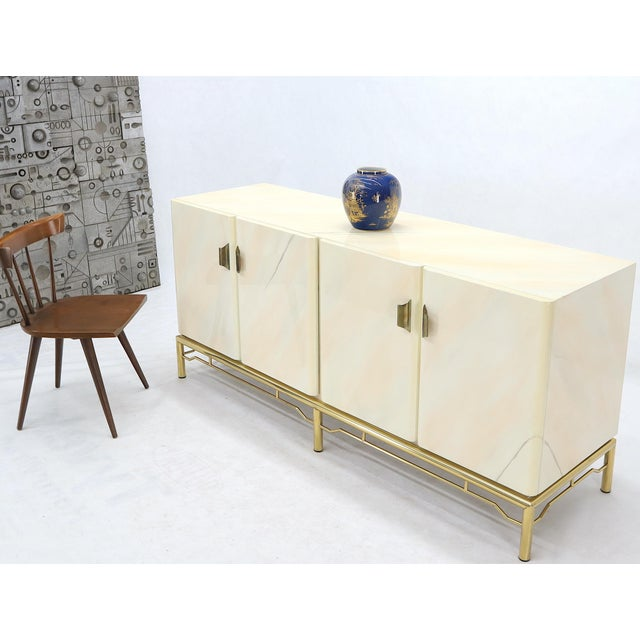 Mid-Century Modern Mid-Century Modern White Lacquer Faux Finish Door 4 Doors Credenza on Brass Base For Sale - Image 3 of 11