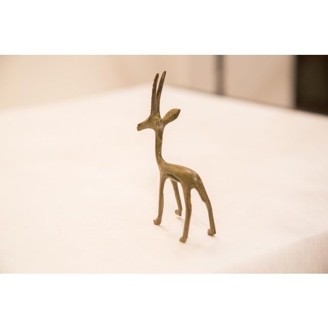 Vintage Bronze Gazelle Figurine / Ashanti Gold Weight For Sale - Image 5 of 7