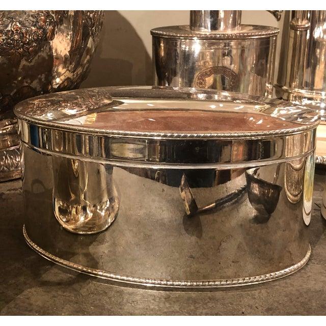 "English Oval Silver Plate Tea Caddy 8"" Wide x 5.5"" Deep x 3.5"" High"