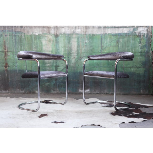 Mid Century Modern Anton Lorenz for Thonet Bent Chrome Cantilever Chairs - a Pair For Sale - Image 12 of 12