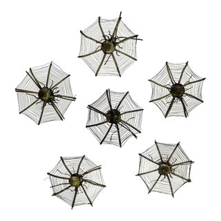 Silver Plate Spider Webs, 1920s - Set of 6