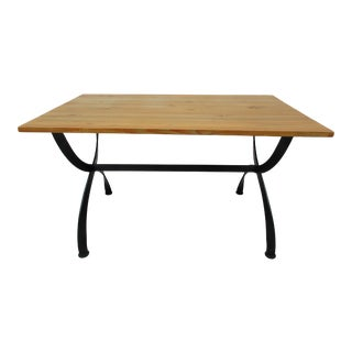 20th Century Industrial Wood and Metal Dining Table For Sale