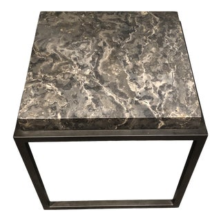 Industrial Noir Metal & Stone Side Table For Sale