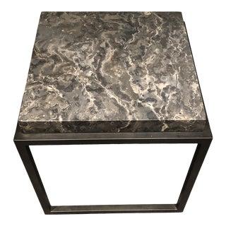 Industrial Noir Metal & Stone Side Table For Sale