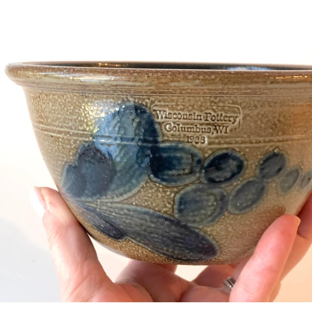 Useful Wisconsin Pottery (of Columbus WI) serving or mixing bowl in the the Early American stoneware, salt-glazed style....