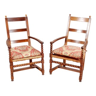 Bobbin-Turned Armchairs- a Pair For Sale