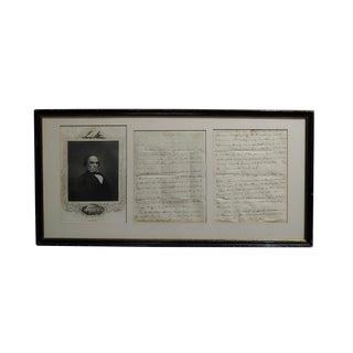 Daniel Webster -Original Signed Manuscript Letter W/ Engraving Portrait - C1810/20s