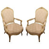 Image of Pair of Painted and Gilt Napoleon III Arm Chairs, 19th Century For Sale