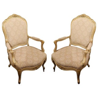 Pair of Painted and Gilt Napoleon III Arm Chairs, 19th Century For Sale