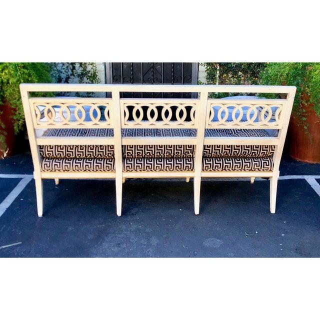 Textile Spectacular Hollywood Regency Style Sofa Settee W Greek Key Cut Velvet For Sale - Image 7 of 8