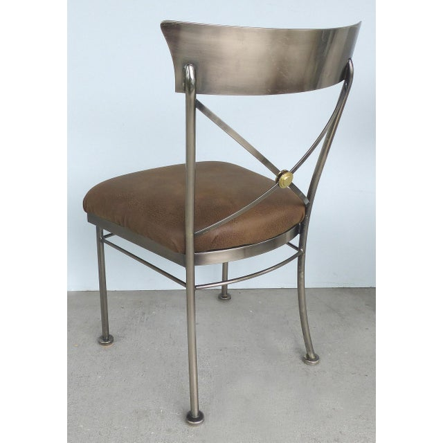 Italianate Steel & Brass Dining Chairs by Design Institute of America (DIA)-Set of 6 For Sale In Miami - Image 6 of 12