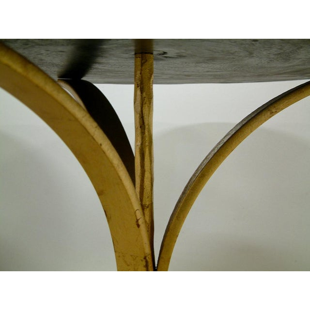 1990s 1998 Contemporary Forged and Gilt Gold Steel and Black Marble Occasional Table by Maurice Beane Studios For Sale - Image 5 of 8