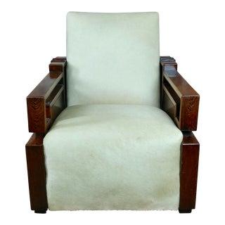 Beautiful Art Deco Oak Club Chair W/White Cowhide Seat Fabulous Solid Oak Club Chair With Off White Cowhide Seat