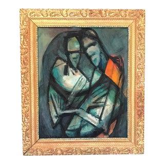 """Mid Century Portrait Cubist Painting """"Is It I"""""""