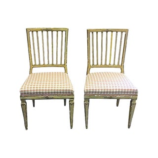 19th Century Antique Painted Gustavian Chairs- A Pair For Sale