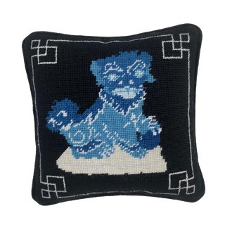 Wool Tapestry Needlepoint Foo Dog Pillow
