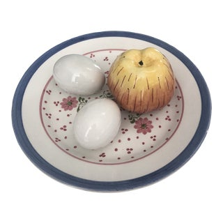 Italian Tiffany Estes Eggs, Apple, & Plate Figurines- 4 Pieces For Sale