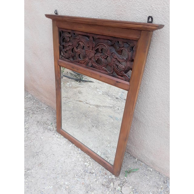 Asian Hand Carved Teak Wood Mirror For Sale - Image 3 of 8