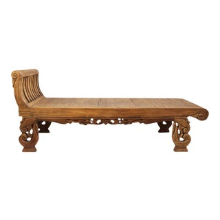 Teak Carved Chaise Lounge Bed For Sale