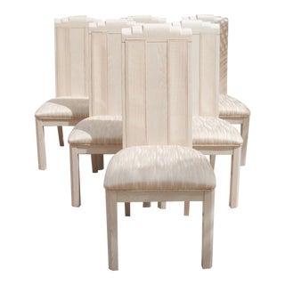 1990s Vintage Bleached Wood and Cane High-Back Dining Chairs - Set of 6 For Sale