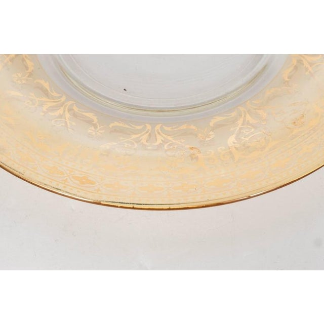 Early 20th Century Splendid Set of Six Antique Gilded and Sterling Overlay Glass Dessert Plates For Sale - Image 5 of 11