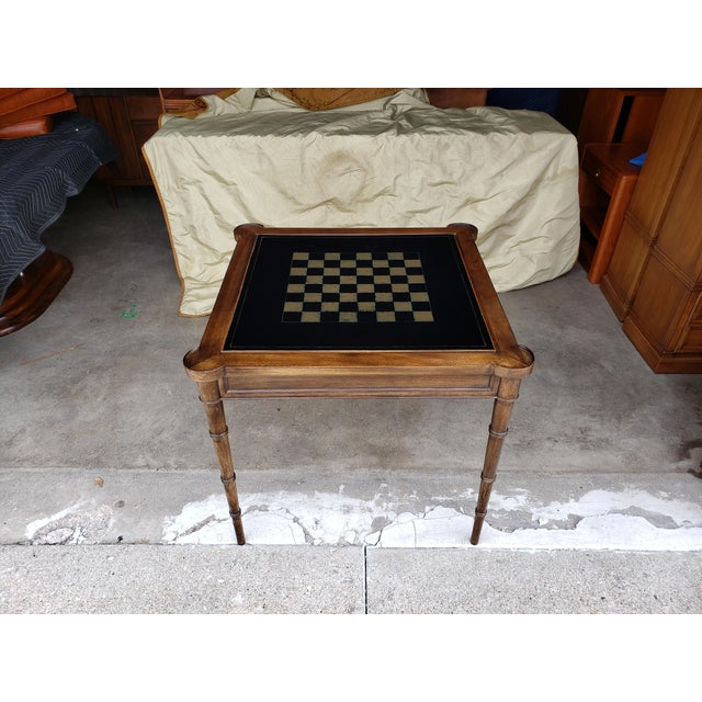 """1980s Hollywood Regency Drexel """"Et Cetera"""" Game Table Leather Top Game Table For Sale - Image 11 of 11"""