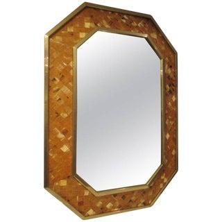 Octagonal Bone-Inlaid Mirror For Sale