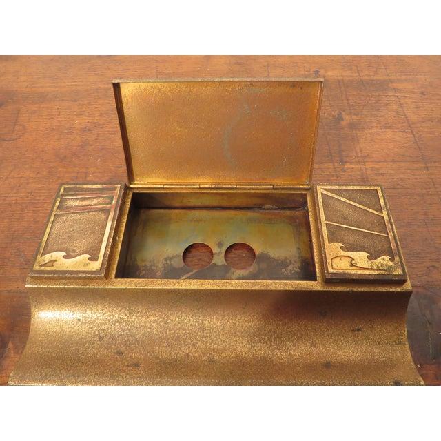 Antique Art Deco Silver Crest Bronze Desk Inkwell For Sale In Philadelphia - Image 6 of 11