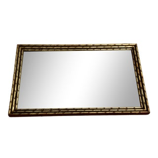 Vintage Turner Rectangular Gilt Wood Faux Bamboo Hanging Mirror For Sale