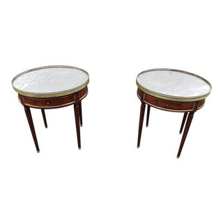 Early 20th Century Vintage Louis XVI Style Bouillotte Tables- A Pair