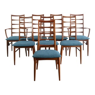 Set of 8 Danish Modern Teak Ladder Back Niels Koefoeds Dining Chairs Hornslet For Sale