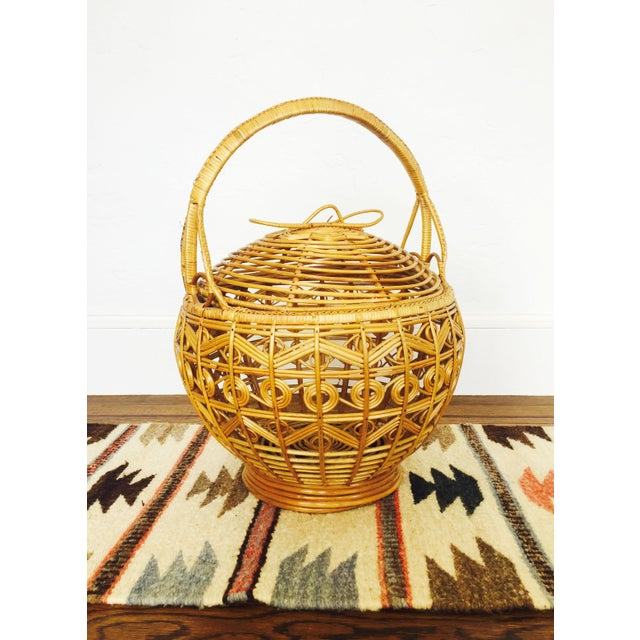 Vintage Large Rattan Basket - Image 2 of 7
