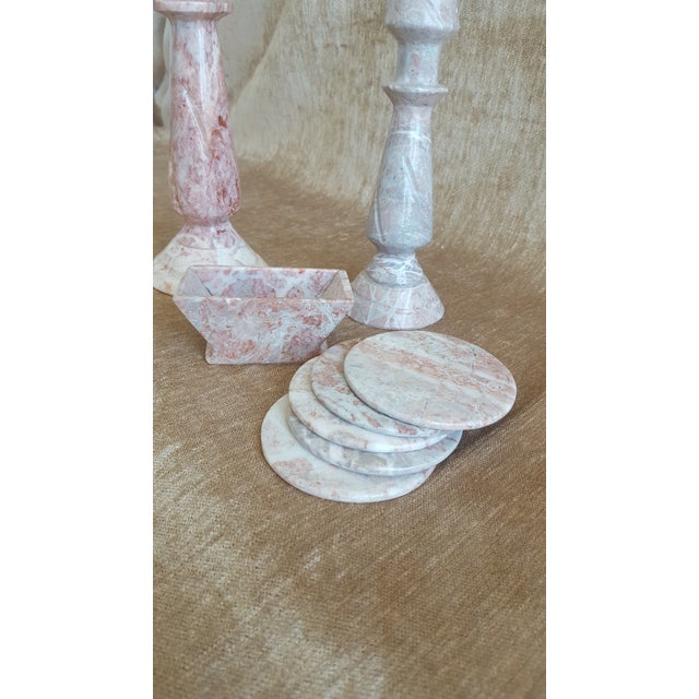 Vintage Pink Onyx Marble Candle Holders and Coaster Set - Image 5 of 13