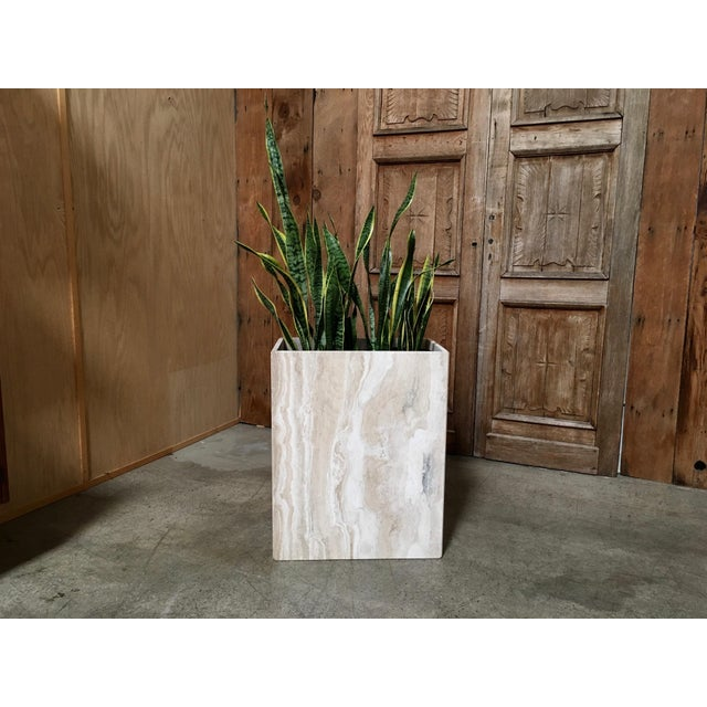 Modernist rectangle marble design interior planter. Made in the mid 20th century.