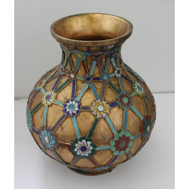 Antique 1920s Chinese Cloisonné Vase In Brass with Crossbanding and Floral Medallions and blue enameled base from a Palm...