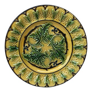 Majolica Acanthus Leaves Plate, Circa 1880 For Sale