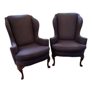 Mid-Century Upholstered Wing Back Chairs- a Pair For Sale