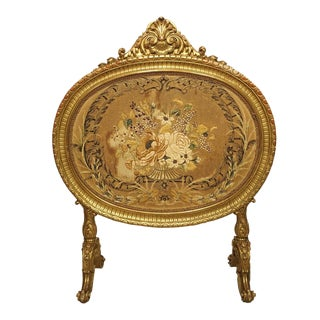 Antique Napoleon III Giltwood Firescreen From France For Sale